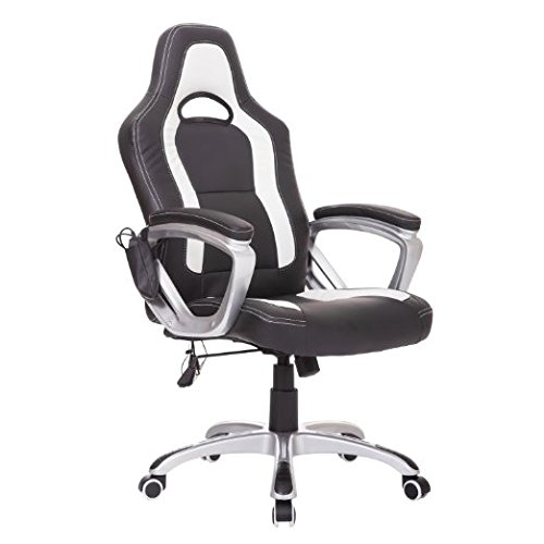 HomCom Race Car Style PU Leather Heated Massaging Office Chair - Black and White