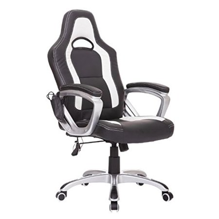 Homcom Race Car Style Pu Leather Heated Maging Office Chair Black And White