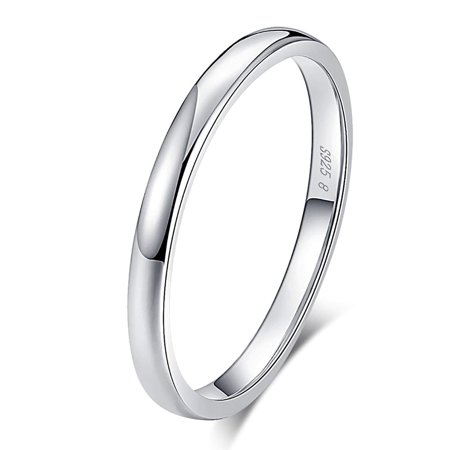 Plain 2mm Solid Sterling Silver Wedding Bridal Band Ring Ginger Lyne Plain Wide Band Ring