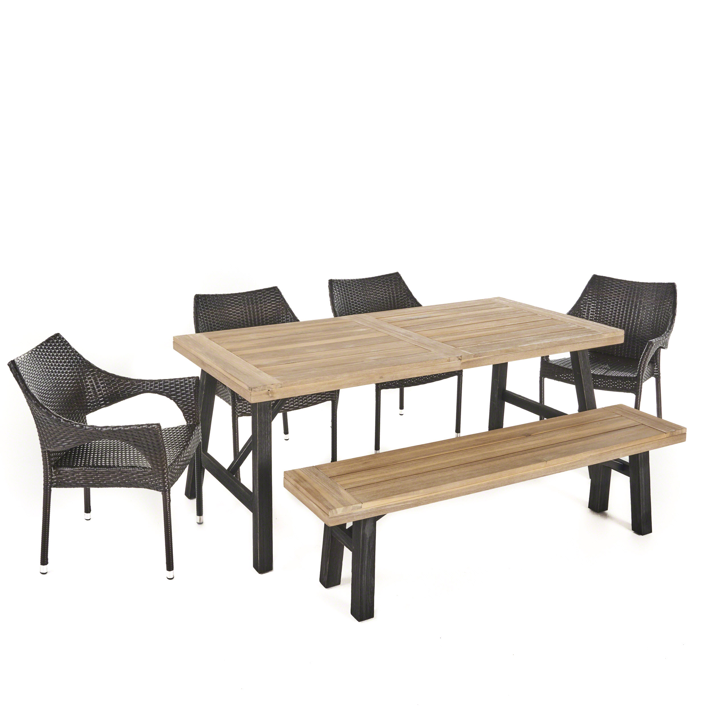 Secos Outdoor 6 Piece Acacia Wood Dining Set with Multibrown Wicker Stacking Chairs, Brushed Grey