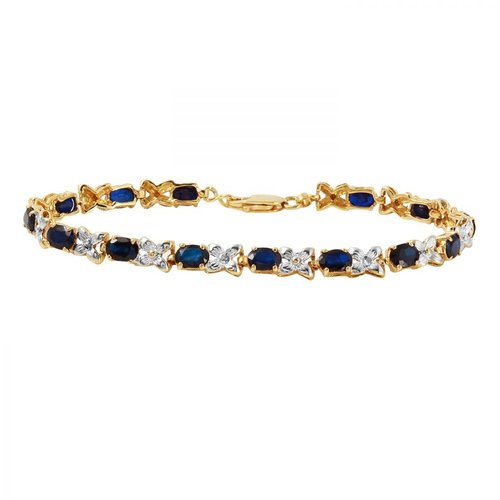 Foreli 8.43CTW Sapphire And Diamond 14K Yellow Gold Bracelet by Generic
