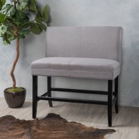 Noble House Canton Light Grey Fabric Bar Height Dining Bench