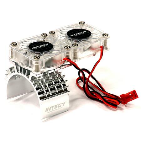 Integy RC Toy Model Hop-ups T8534SILVER Motor Heatsink + Twin Cooling Fan for Traxxas 1/10 Slash 4X4 (6808)