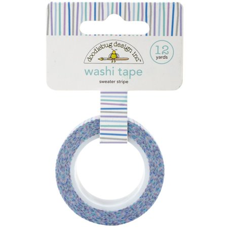 Washi Tape 15mm X 12yd-Sweater Stripe, Doodlebug Collection Polar Pals Washi Tape Sweater Stripes- Tape roll about 5/8