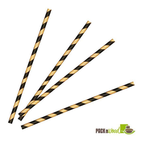 """Pack n' Wood 210CHP21KB, 8.3""""x0.2"""", Striped Wax Coated Paper Straws, 500/PK"""