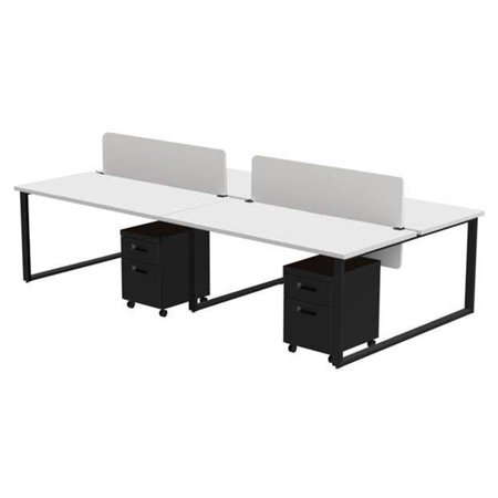 Privacy Finish - Marvel Aire ARTY004DWBK Benching for Four 60 x 30 in. Desks with 4 Mobile Pedestals & 2 Acrylic Privacy Screens, Designer White Laminate & Black Finish