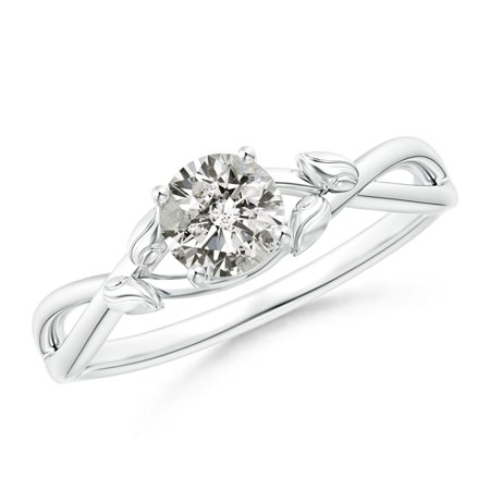 April Birthstone Ring Solitaire Diamond Leaf And Vine Engagement Ring In Platinum 5 1mm Diamond Sr1539d Pt Ji2 5 1 6