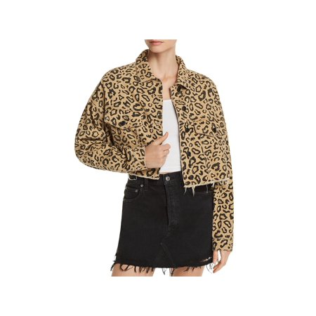 Wear Cropped Jacket - Sunset & Spring Womens Leopard Cropped Denim Jacket