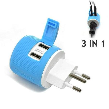 OREI Switzerland Travel Plug Adapter - Dual USB - Surge Protection - Type