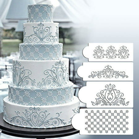 Meigar 4Pcs Princess Lace Cake Stencil Set, Cake Craft Stencils,Cake Border Stencils Set, Decorating cake stencil, Fondant Decotration,DIY Cookie Craf Decor (Mesh Cake Stencil)