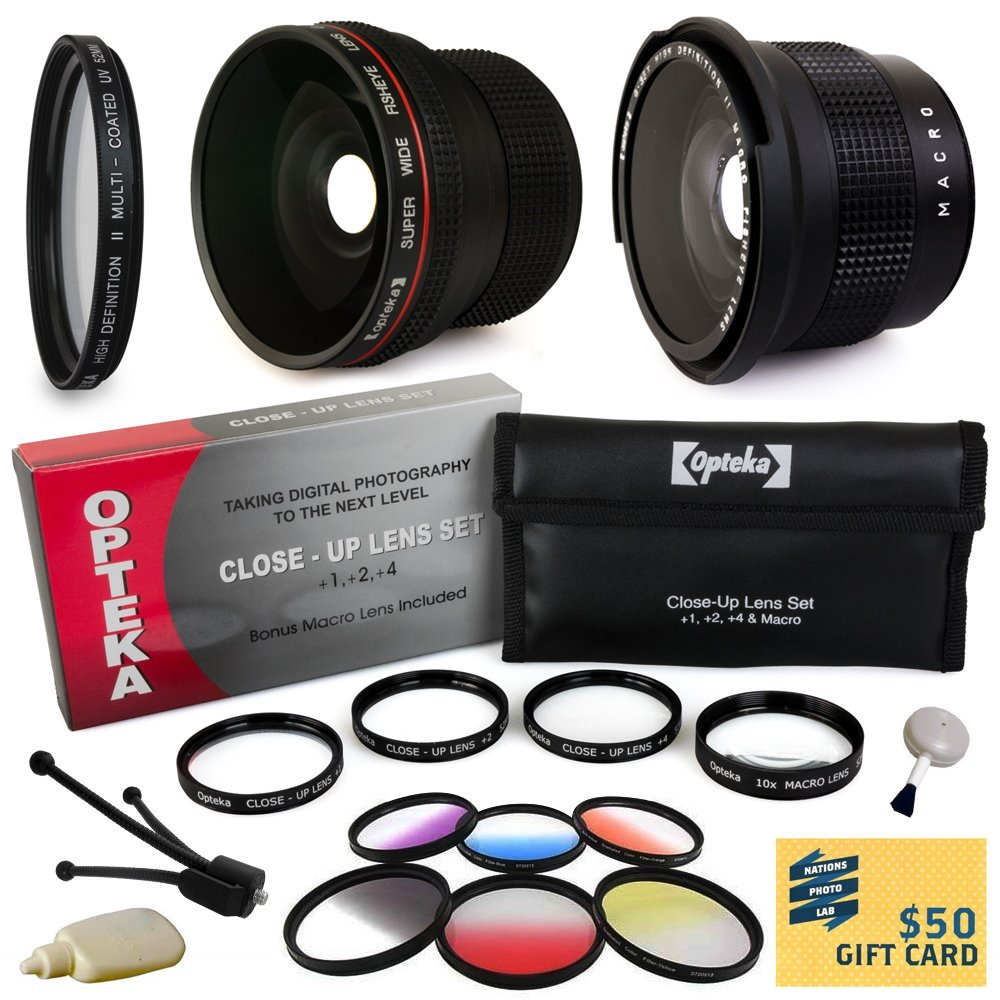 Pro Lens & Filters for Sony includes Super 0.35x and 0.20X Fisheye AF Lens, UV Glass Filter, 4 Piece Close Up Macro Lens Set, 6 Piece Filter Set, Digital Camera Cleaning Set, $50 Gift Card for Prints