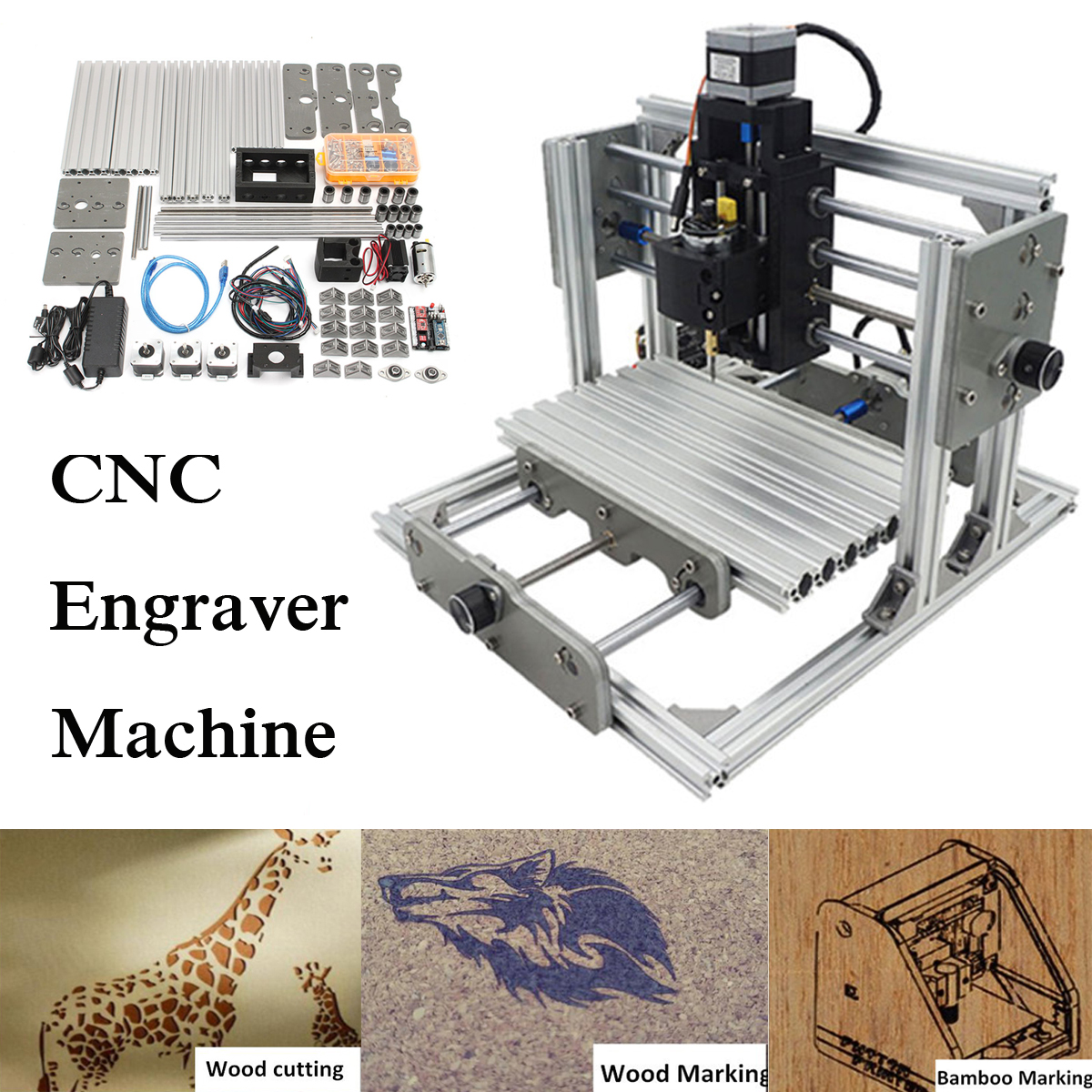 3 Axis DIY Mini Laser Engraver CNC Engraving Router Milling Machine Kit 24x17cm With 2500mw Laser Engraver