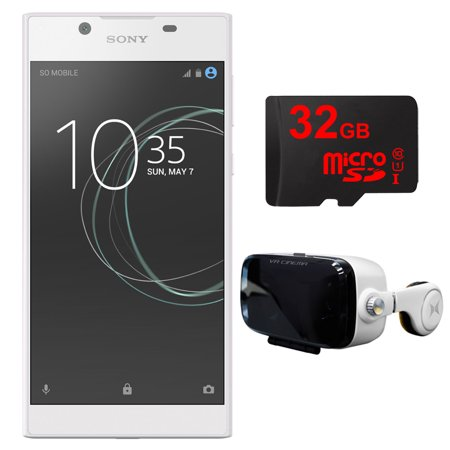 Sony Xperia L1 16Gb 5 5 Inch Smartphone Unlocked White 1308 0909 Vr Accessory Bundle Includes Virtual Reality Cinema Viewer With Insulated Audio System   32Gb Microsd High Speed Memory Card