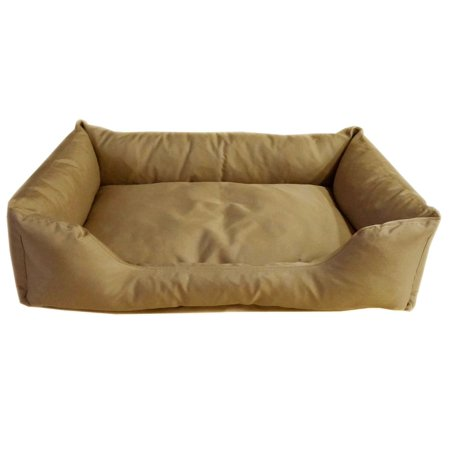 Cozy Cave Pet Bed in Poly Cotton Khaki/Cream Sherpa