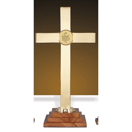 Ihs Cross - BrassWood Altar Cross 24 W IHS Emblem