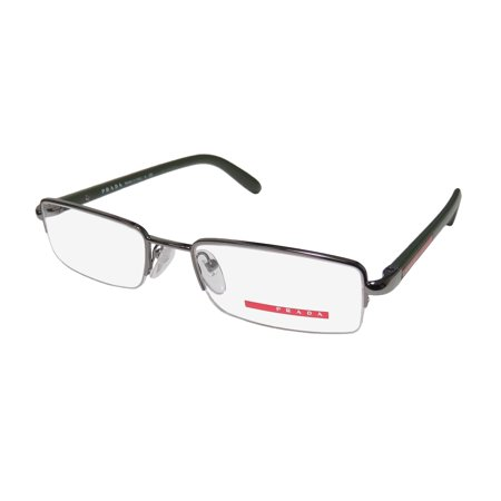 New Prada Vps57b Mens Rectangular Half-Rim Gunmetal / Green Frame ...