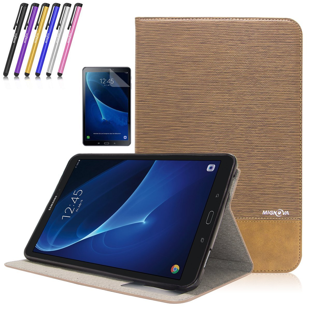 Samsung Galaxy Tab A 10.1 Case - Mignova Flip Stand Leather Folio Cover with Auto Sleep/Wake Feature for Tab A 10.1 Inch (SM-T580 / SM-T585) Tablet 2016 Release (Black)