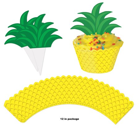 Club Pack of 144 Pineapple Cupcake Wrapper and Topper Decoration 8