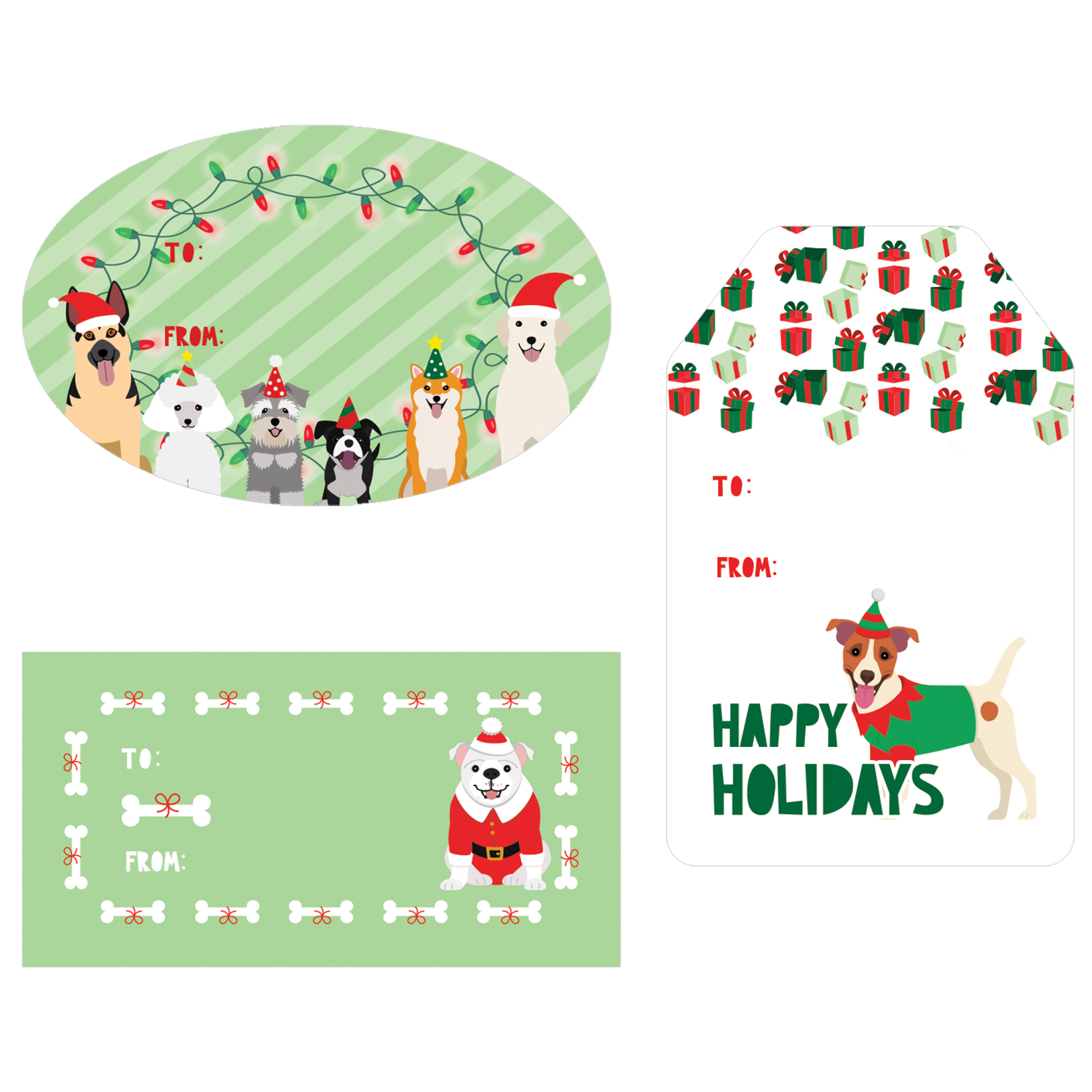 Christmas Gift Tag Stickers - 76 count - Dog Theme Christmas Gift Wrap Tags - Assortment of 76