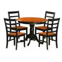 East West Furniture Antique 5 Piece Pedestal Round Dining Table Set with Parfait Wooden Seat Chairs