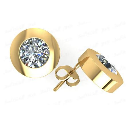 Natural 1.50Ct Round Diamond Stud Earrings 18Kt Yellow Gold Bezel Push Back H SI2 18kt Yellow Gold Diamond Bezel