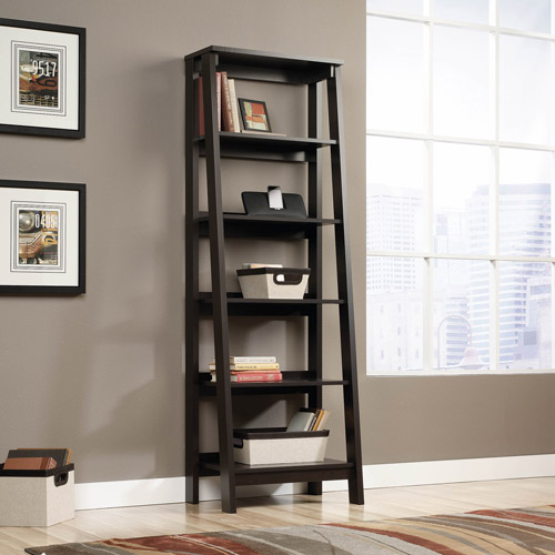 Sauder Trestle 5-Shelf Bookcase, Jamocha Wood