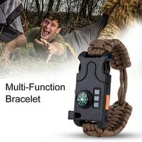 FAGINEY Outdoor Survival Whistle Mini Compass LED Flashlight Paracord Wristband Bracelet Tool, Paracord Flint, Survival Paracorord