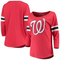 Women's New Era Red Washington Nationals Scoop Neck 3/4-Sleeve T-Shirt