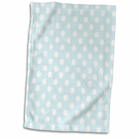 3dRose White Polka Dot pattern on mint blue - Retro fifties cute dots - spots - pastel turquoise teal aqua - Towel, 15 by