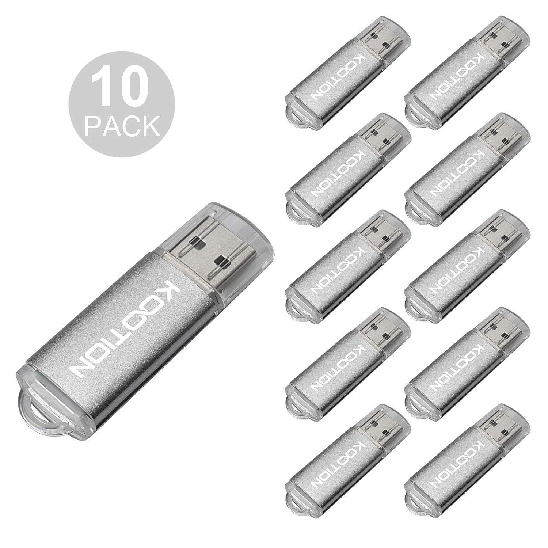 KOOTION 10Pack 1GB USB 2.0 Flash Drives Memory Stick Thumb Drive, Silver
