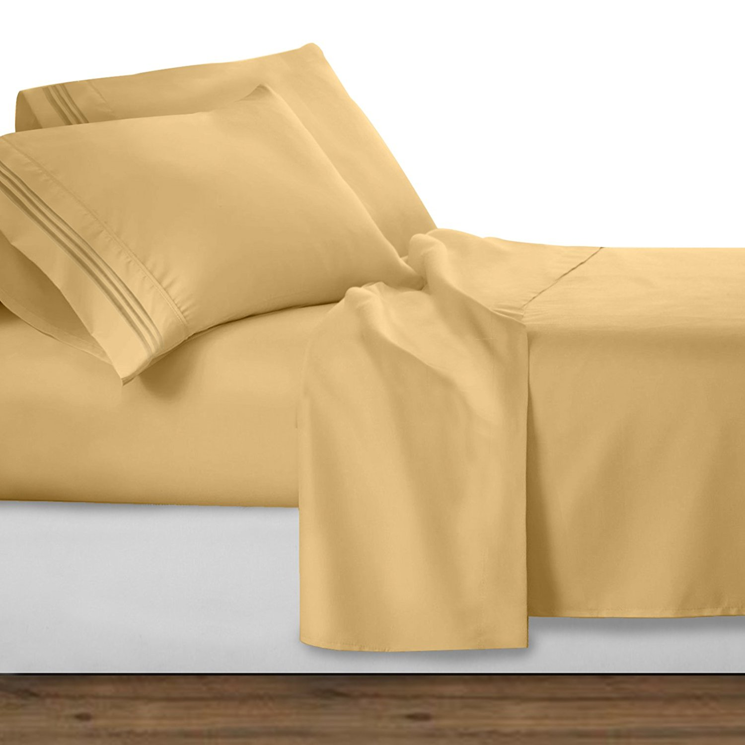 Elegant Comfort  1500 Thread Count Egyptian Quality Wrinkle and Fade Resistant 4-Piece Bed Sheet set, Deep Pocket, HypoAllergenic - Queen, Gold