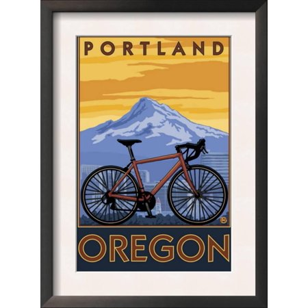 Portland, Oregon, Mountain Bike Scene Framed Art Print Wall Art - 13 5x14 5  - Walmart com