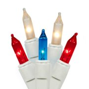 Set of 100 Patriotic Red, White & Blue Mini Twinkle 4th of July Christmas Lights-White Wire