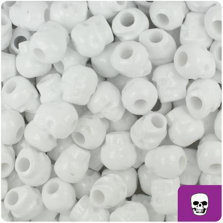 BeadTin White Opaque 11mm Skull Pony Beads (150pcs)