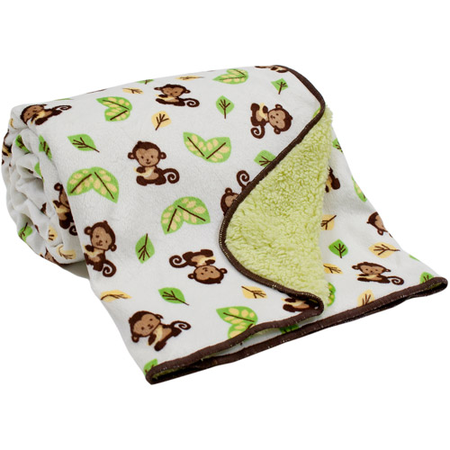 Lambs & Ivy Bedtime Originals Curly Tails Velour Sherpa Back Blanket
