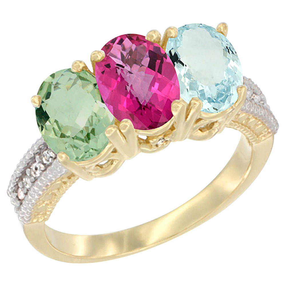 14K Yellow Gold Natural Green Amethyst, Pink Topaz & Aquamarine Ring 3-Stone 7x5 mm Oval Diamond Accent, sizes 5 10 by WorldJewels