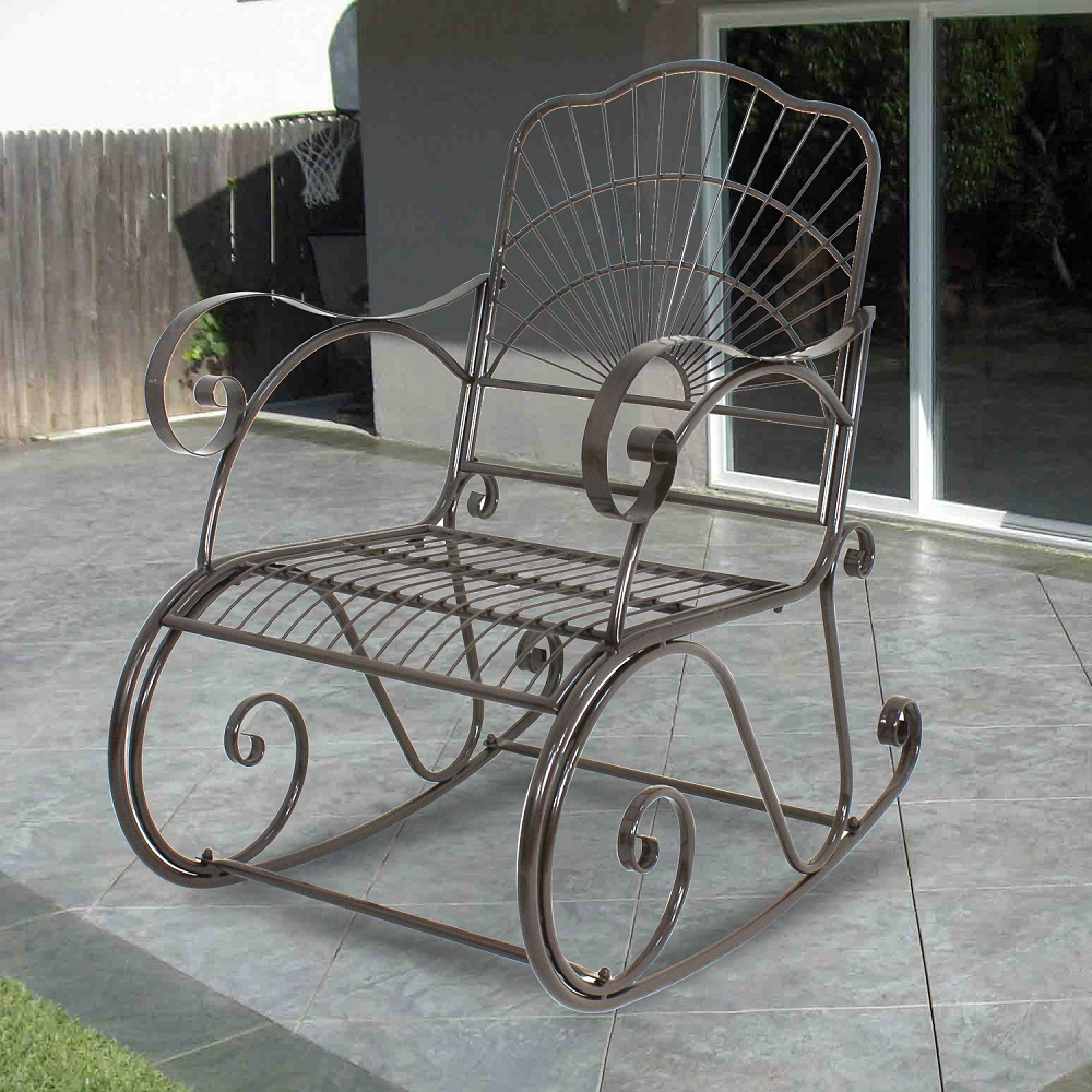Zeny Wrought Iron Porch Rocking Chair