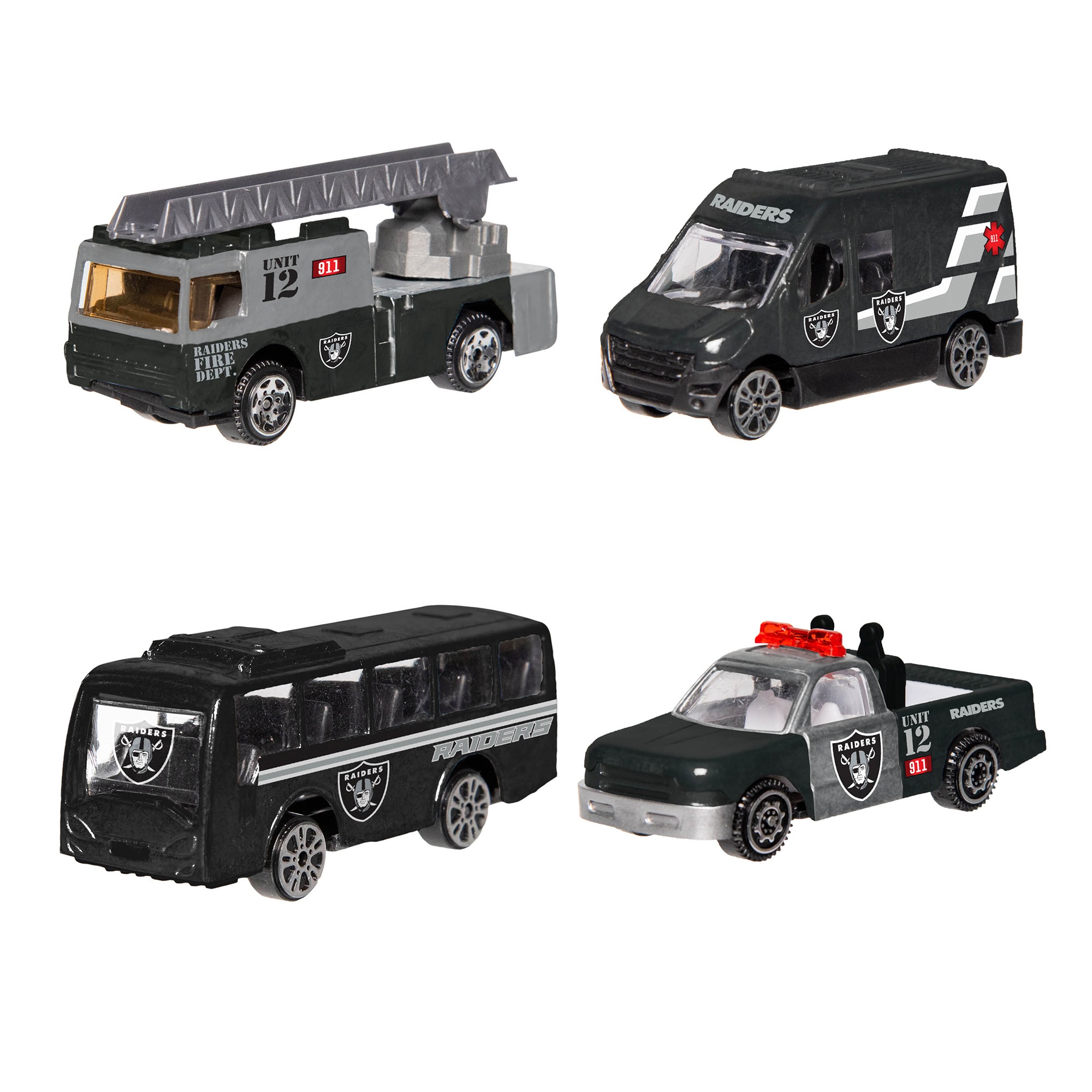 Forever Collectibles - 4 Pack Die Cast Cars, Oakland Raiders