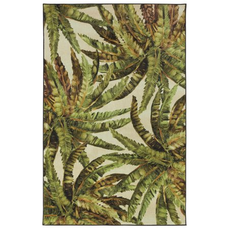 Mohawk Prismatic Area Rugs - Z0321 A414 Contemporary Dark Olive Green Tropical Leaves Branches Plants Rug Dark Green Contemporary Rug