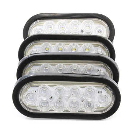 "(4) 6"" Oval Clear LED Reverse Back-up Light Flush Mount Trailer Truck"