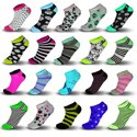 18- Pairs Women's Colorful Patterned Fashion Ankle Socks