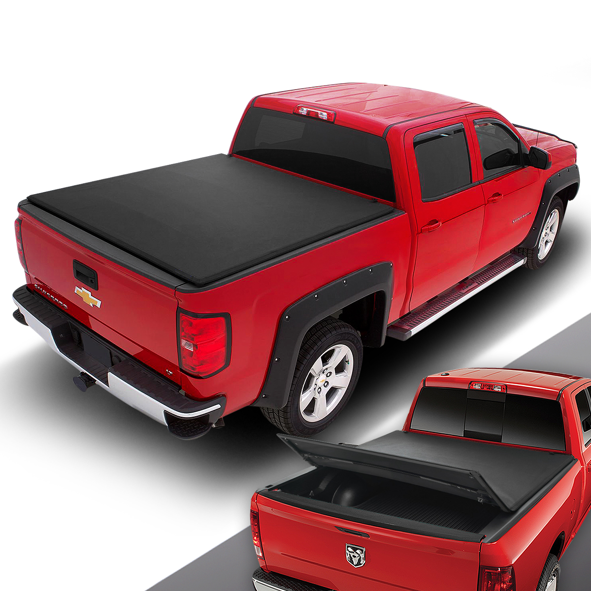 To Fit 12-16 Ford Ranger Tri Folding Soft Tonneau Bed Canopy Cover Non Drill