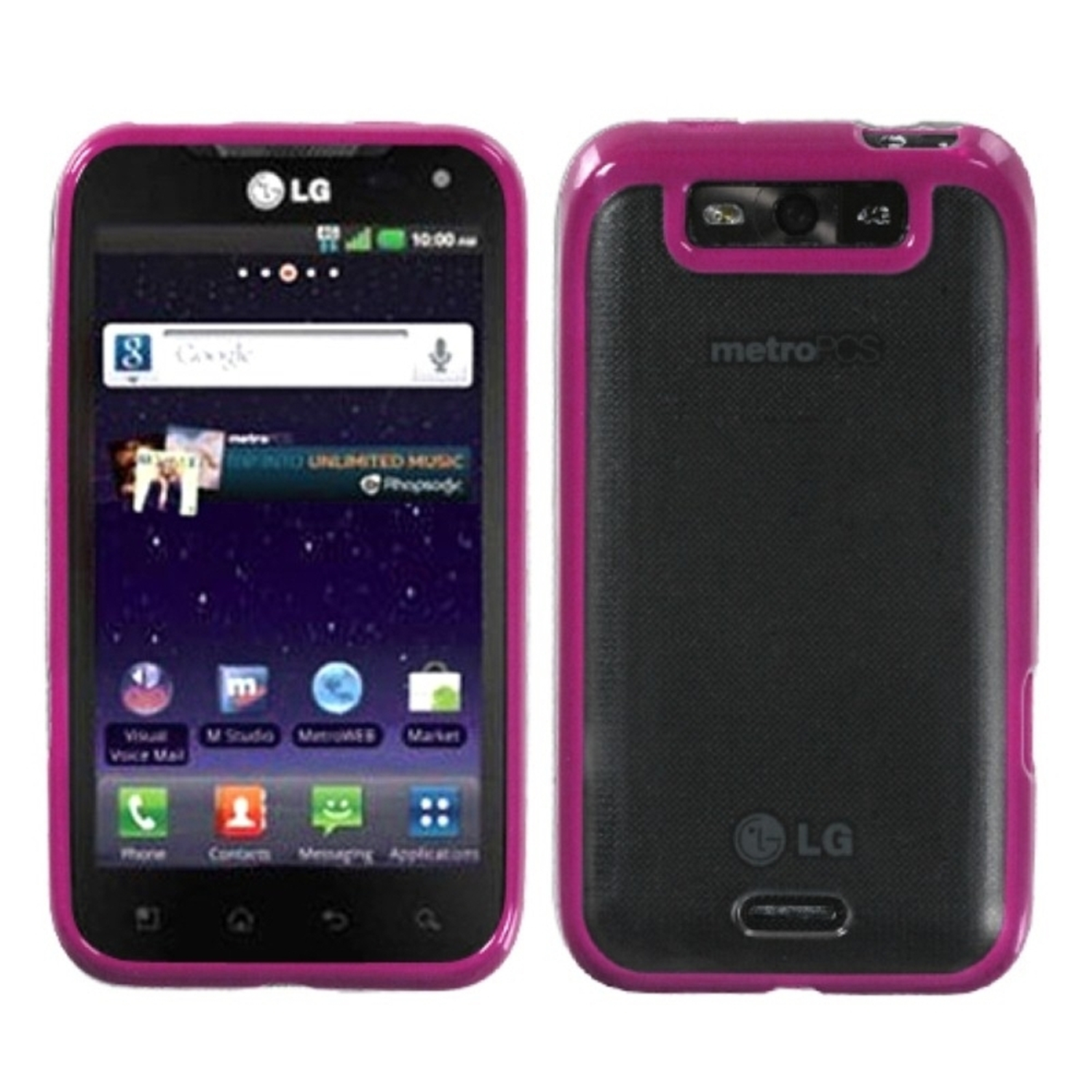 INSTEN Transparent Clear/Solid Hot Pink Gummy Cover Case for LG: MS840 (Connect 4G), LS840 (Viper)
