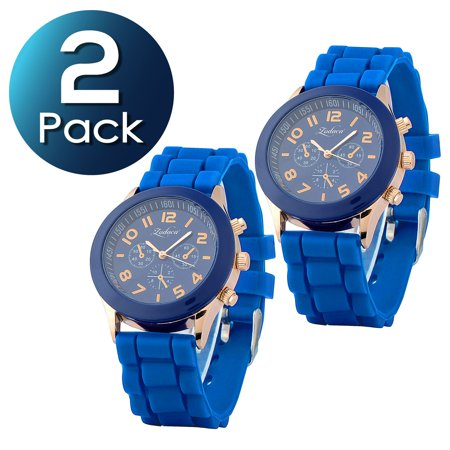 2 Pack Zodaca Dark Blue Unisex Men Women Silicone Jelly Quartz Analog Sports Wrist Watch New