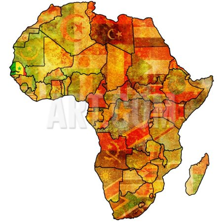 Senegal on Actual Map of Africa Print Wall Art By michal812 on