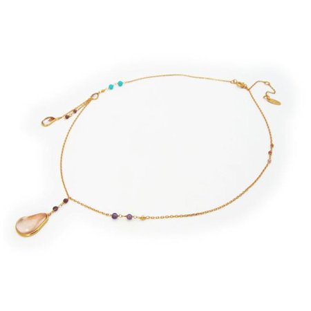 551175G Eclectic Design Amethist Turquoises Garnets Rose Quartz Beads Silver Gold Plated Necklace (Bead Gold Plated Necklace)