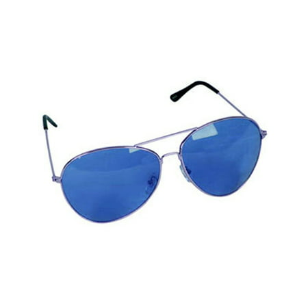 Retro Blue Lens Silver Frame Aviator Rock Star Glasses](Silver Rock)