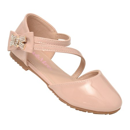 Bella Bow - Bella Marie Girls Pink Closed Toe Rhinestone Bow Casual Shoes