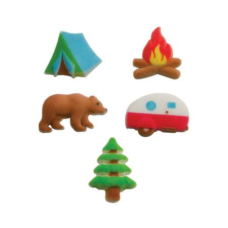 Set of 12 Happy Camper Camping Edible Sugar Cake & Cupcake Decoration - Camping Decorations