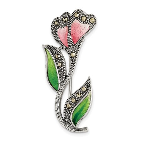 925 Sterling Silver Red/green Epoxy Marcasite Flower Pin Gifts For Women For Her